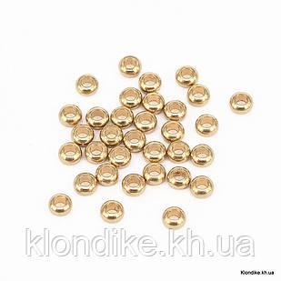 Бусины-Разделители, Рондель, Нержавеющая Сталь, 3×1.2 мм, Цвет: Золото (4 шт.)