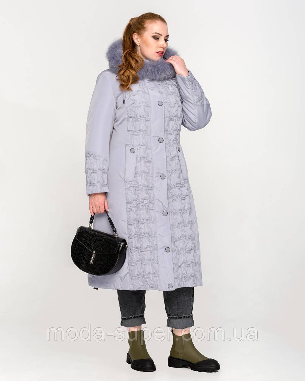 Зимняя длинная куртка - пуховик с мехом песца рр 48-60