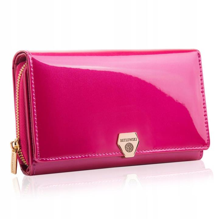 Жіночий шкіряний гаманець Betlewski з RFID 16 х 10 х 4 (BPD-VS-513) - рожевий