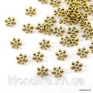 Бусины-Разделители, Снежинка, Металлические, 8.5×2.5 мм, Цвет: Золото (50 шт.)