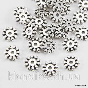 Бусины-Разделители, Снежинка, Металлические, 10×2 мм, Цвет: Серебро (30 шт.)