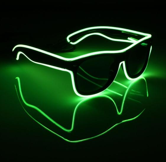 Очки светодиодные  солнцезащитные El Neon ray green неоновые