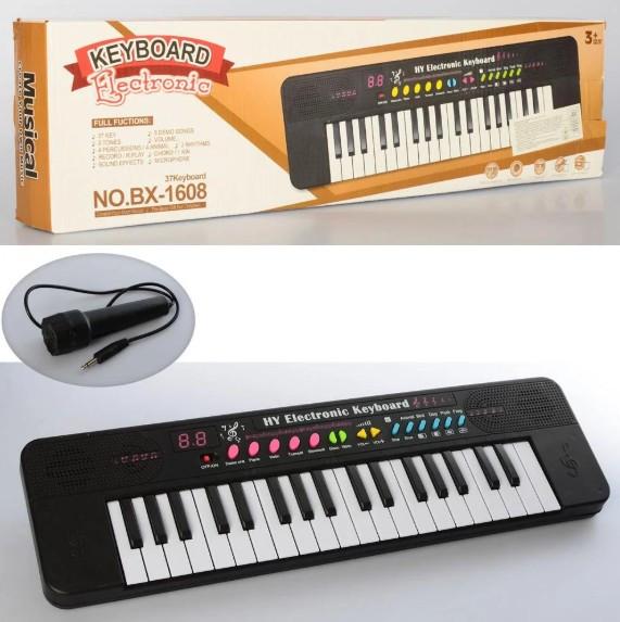 Детский синтезатор с микрофоном , 37 клавиш Детская развивающая игрушка пианино Keyboard BX-1608A