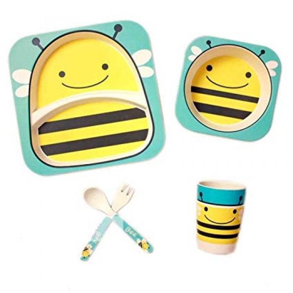Набор детской посуды из бамбука «Пчела» (5 предметов)