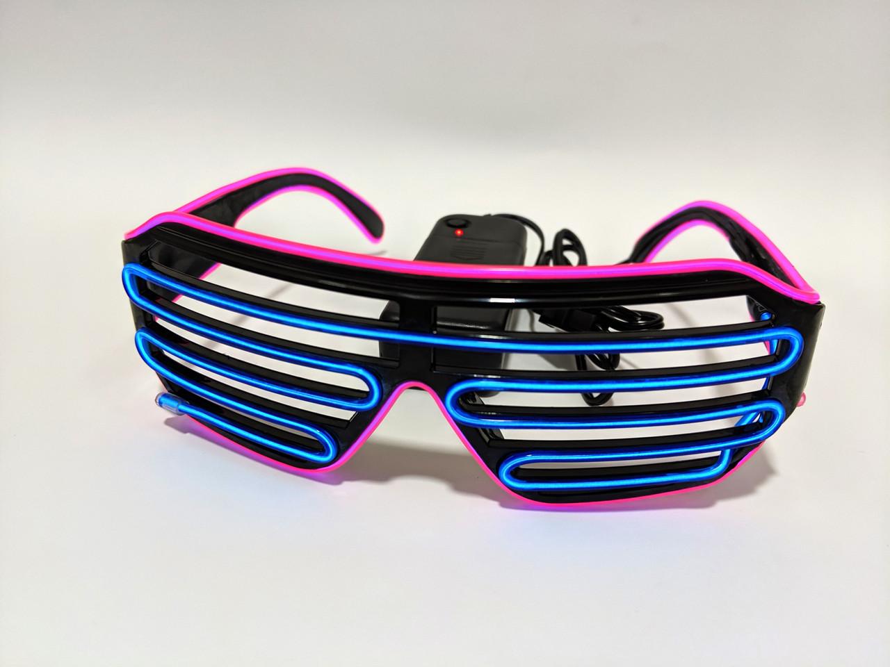 Неоновые очки светодиодные розовый синий