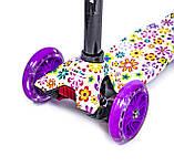 Детский самокат MAXI. Violet Flowers. Светящиеся фиолетовые колеса!, фото 2