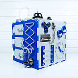 Развивающая игрушка бизикуб  Busy Cube Tornado Бело-синяя, фото 4