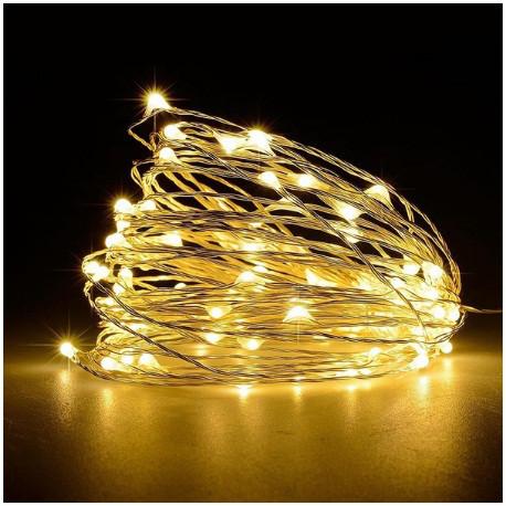 Светодиодная гирлянда нить 4.5м 50led на батарейках золотая теплая проволка Warm White