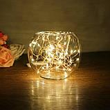Светодиодная гирлянда нить 4.5м 50led на батарейках золотая теплая проволка Warm White, фото 2