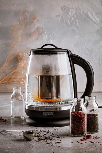 Camry CR 1290 Чайник стеклянный 2,0 л - с темп. контроль и заваривание чая