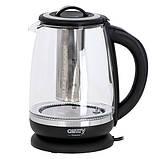 Camry CR 1290 Чайник стеклянный 2,0 л - с темп. контроль и заваривание чая, фото 3