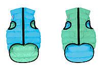 Двусторонняя курточка для собак Airy Vest Lumi салатово-голубая (светится в темноте)
