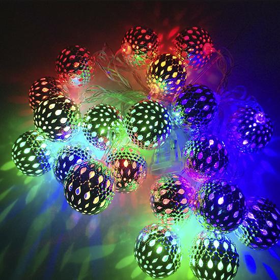 Гирлянда шарики металлические 20 шт 4 м цветное свечение, от сети
