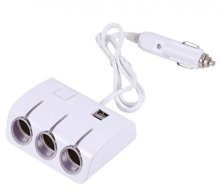 Адаптер тройник в прикуриватель с проводом + USB 1505-A