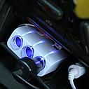 Адаптер тройник в прикуриватель с проводом + USB 1505-A, фото 2