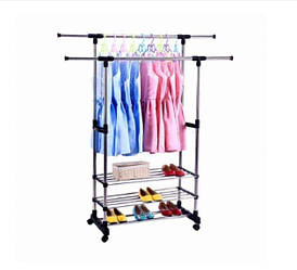 Вешалка-стойка двойная телескопическая для одежды Triple Stand Hanger