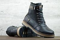Мужские кожаные зимние ботинки Zangak чёрные