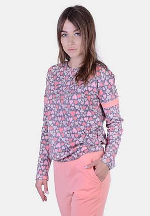 """Женский домашний хлопковый костюм """"Сердечки"""" с длинным рукавом (большие размеры), фото 2"""