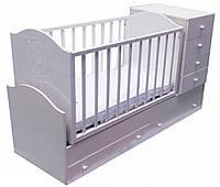 """Детская кроватка-трансформер с комодом, ящиками и маятником 3 в 1 """"Миша со стразами"""" Angel белая"""