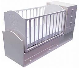 """Детская кроватка-трансформер с комодом 3в1 """"Миша со стразами""""  белая Angel baby"""