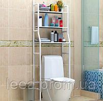 Стеллаж-стойка для туалета (металл, белый) этажерка-органайзер над унитазом (полки в туалет)