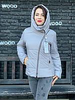 Женская демисезонная куртка с капюшоном, пепельный, арт. 501