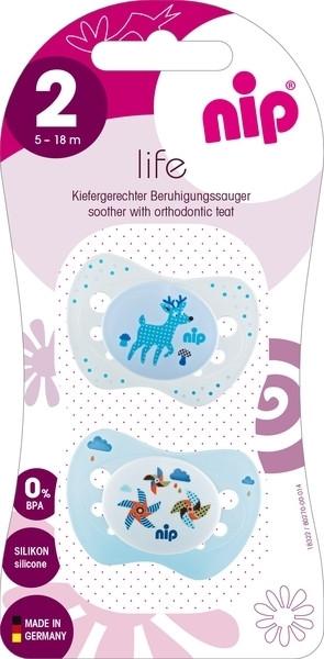 Пустышка Nip Замечательная жизнь №2 Олень и ветрячки, 5-18 мес., белый со светло-голубым, 2 шт. (31302)