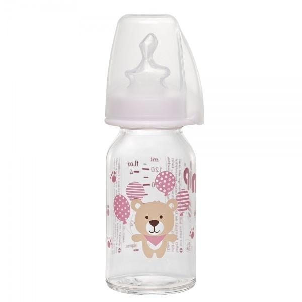 Пляшка скляна Nip Ведмедик, 125 мл, світло-рожевий (35070)