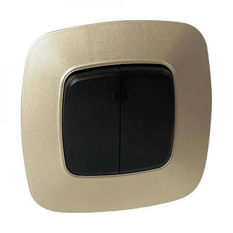 Двухклавишный выключатель света золотой с черным Ela Horoz Electric 112-007-0002-040, фото 2