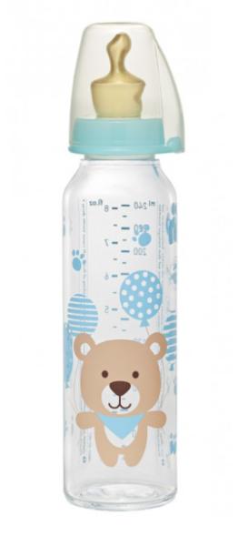 Бутылочка стеклянная Nip Мишка, 250 мл, синий (35011)