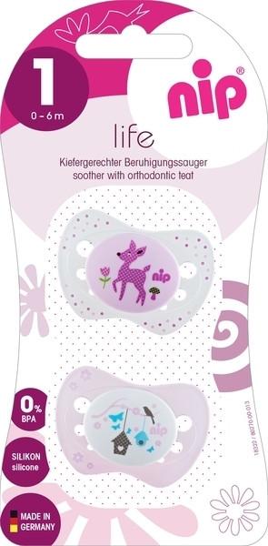 Пустышка Nip Замечательная жизнь №1 Олень и птица, 0-6 мес., светло-розовый с белым, 2 шт. (31301)