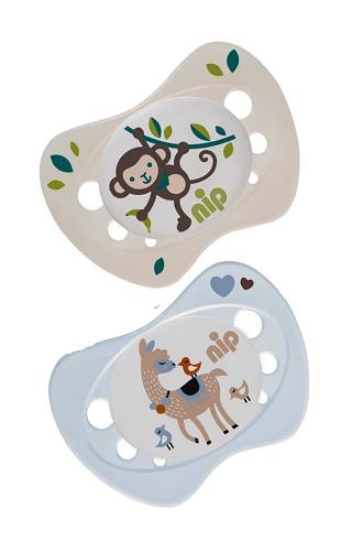 Пустышка для новорожденных Nip Newborn Обезьянка и лама, 0-2 мес., голубой и бежевым, 2 шт. (31304)