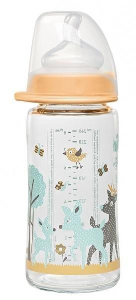 Бутылочка стеклянная Nip Олени, 240 мл, бежевый (35064)
