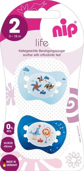 Пустышка Nip Замечательная жизнь №2 Цирк и ветрячки, 5-18 мес., светло-голубой с синим, 2 шт. (31302)