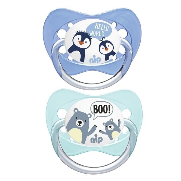 Пустышка Nip Моя семья №2 Медведи и пингвины, 5-18 мес., синий с мятным, 2 шт. (31004)