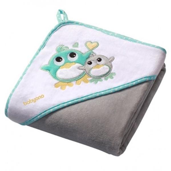 Полотенце с капюшоном BabyOno Пингвин, 100х100 см, серый (138/05)