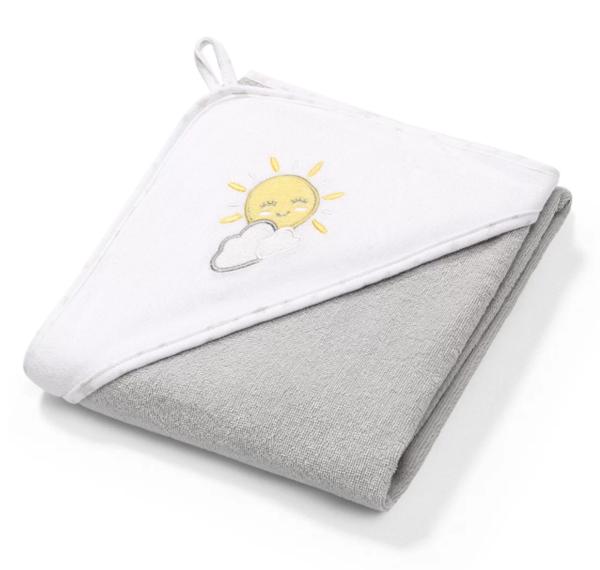 Полотенце с капюшоном BabyOno Солнышко, 76х76 см, серый с белым (141/08)