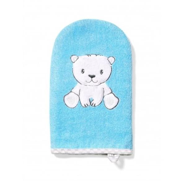 Рукавица для купания BabyOno Медвежонок, голубой с белым (347/02)