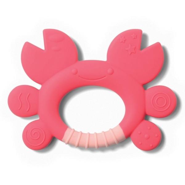 Игрушка-прорезыватель для зубов BabyОno Краб, силиконовый, розовый (936)