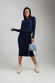 Приятный трикотажный женский костюм с приталенной юбкой миди  в 3 цветах в размере 42-46