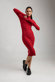 Стильное трикотажное платье с высокой горловиной до середины икры в 6 расцветках в 40-46 размере