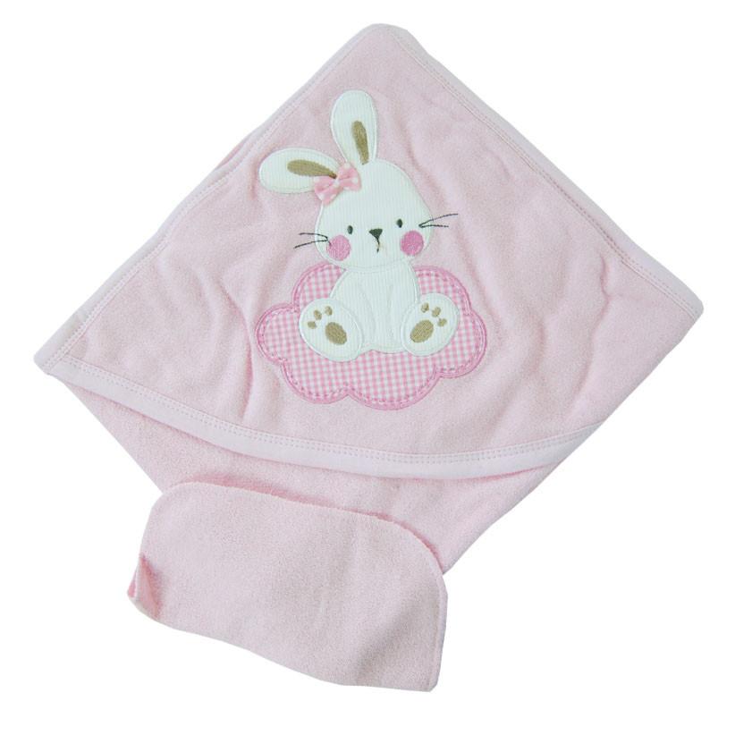 Уголок для купания махровый Зайка розовый