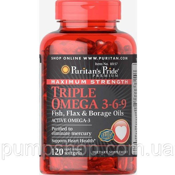 Омега-3-6-9 Puritan's Pride Triple Omega 3-6-9 Maximum Strength 120 капс.