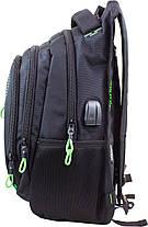 Рюкзак школьный ортопедический с USB переходником подростковый для мальчика черно-зеленый Winner One 395-7, фото 3