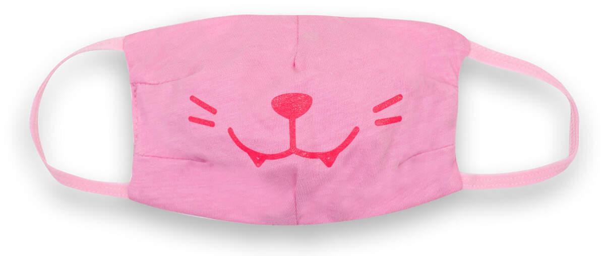 Маска защитная детская двухсторонняя тканевая розовая Котик