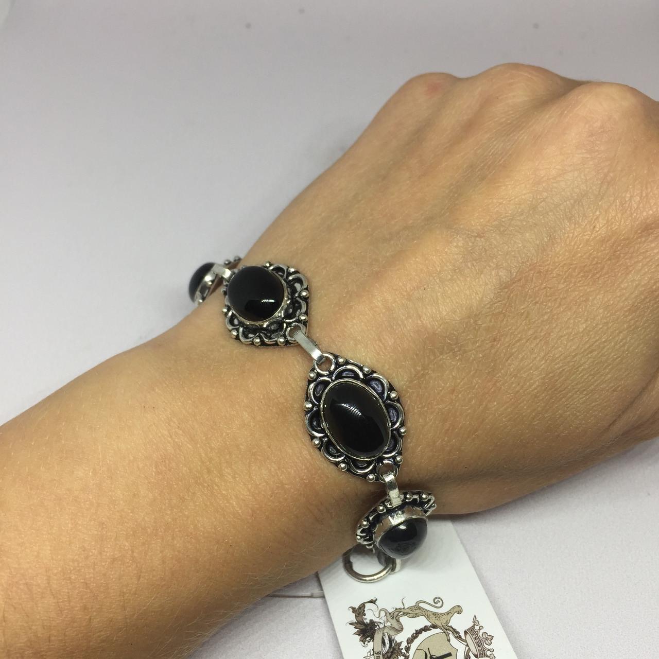 Черный оникс браслет с черным ониксом в серебре Индия