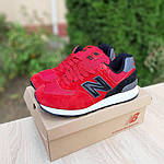 Чоловічі кросівки New Balance 574 (червоно-чорні) 10286, фото 3