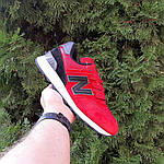 Чоловічі кросівки New Balance 574 (червоно-чорні) 10286, фото 7
