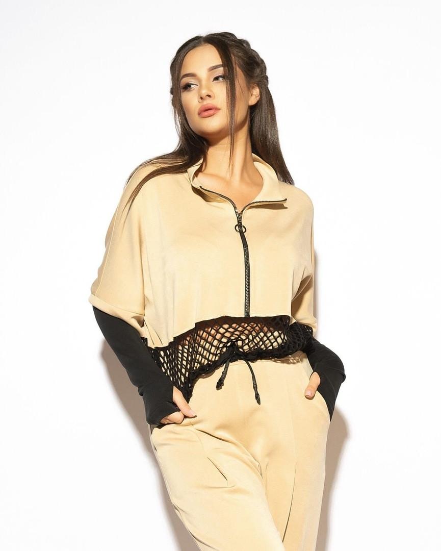 Модный женский трикотажный брючный костюм с сеткой.Размеры:44/46,48/50,52/54+Цвета