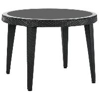 Стол Tilia Osaka d110 см столешница из стекла, ножки пластиковые черный, фото 1
